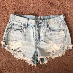 American Eagle Mid Rise Light Wash Jean Shorts